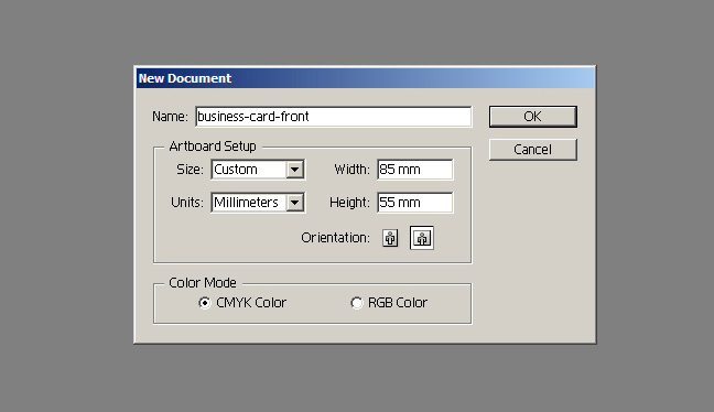 Make a print ready 1 colour business card in adobe illustrator first open up adobe illustrator and create a new document that is 85 x 55mm or whatever size your printer recommends make sure to set the color mode to reheart