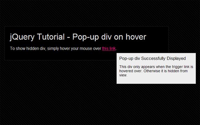Create a Pop-up div in jQuery | Creative Individual Design Blog