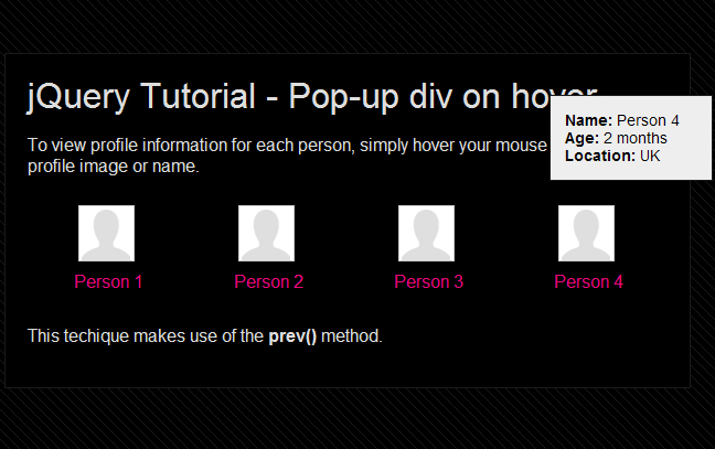 Create multiple pop up divs using the jquery prev method - Jquery hide div ...