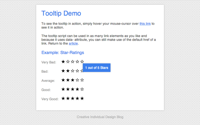 Create a jQuery Tooltip - Tutorial Demo
